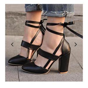 Lace up ballerina heels- black